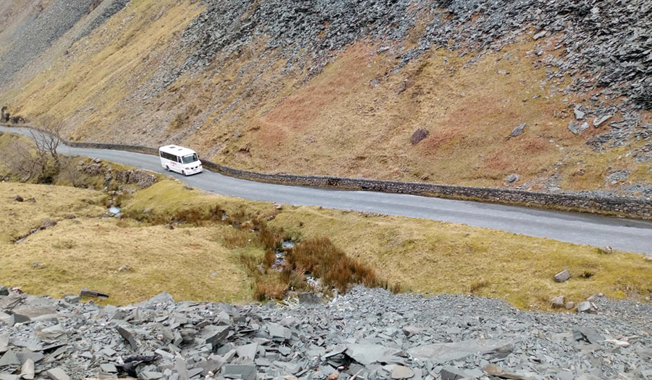 Ellenvale Coach Company driving through the Lake District